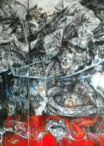I Nyoman Wirata, Ikan besar sang penyelamat (fokus), akrelik, 180x90 cm, 2017.