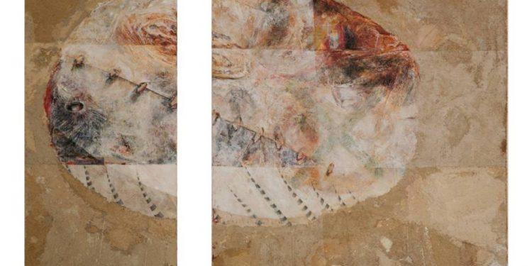 Wayan Redika, Turtle Egg, 1995, Mixed Media on Canvas, 2 Panels