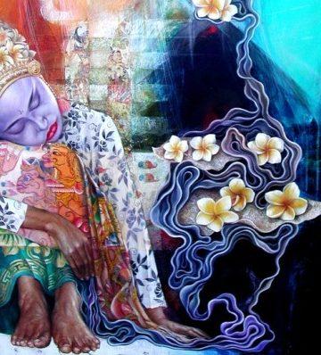 Wayan Redika, Bunga Jepun, 2003, Oil on Canvas, 60x50cm