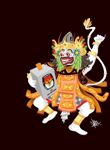 """""""Anggada"""" karya Putu Dian Ujiana, pemenang ketiga sayembara maskot Pilkada Buleleng. Sumber:  kpu-bulelengkab.go.id"""