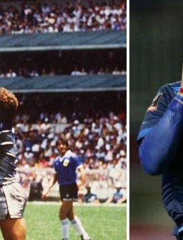 Peristiwa terjadinya gol tangan Tuhan oleh Maradona di perempat final Piala Dunia 1986 (kiri), Gonzales (kanan)/ Foto-foto Google