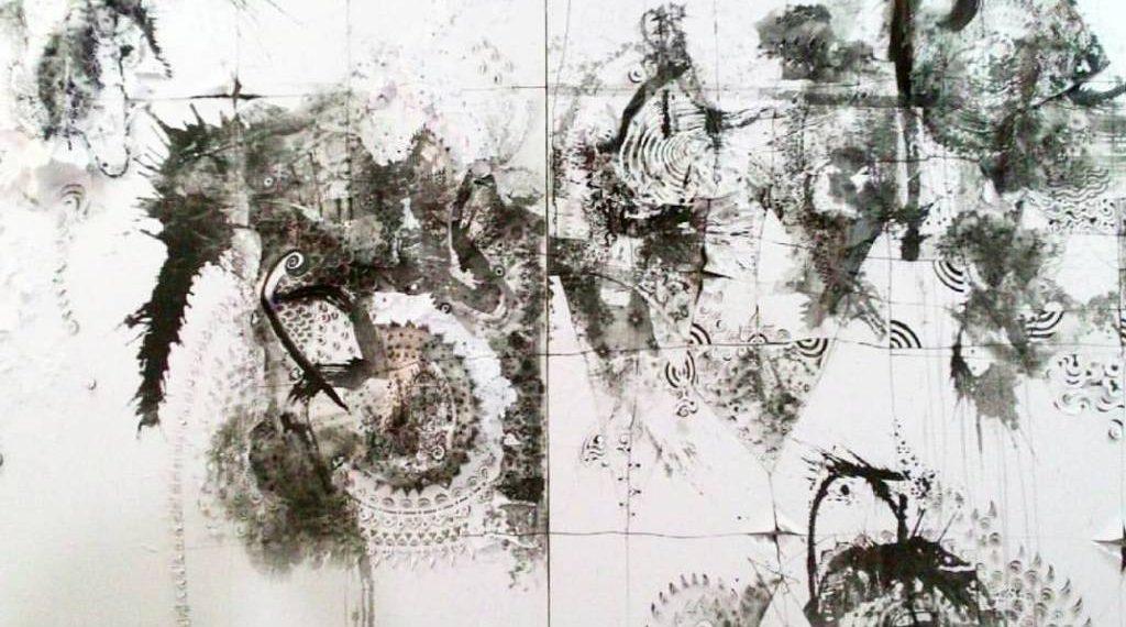 Nyoman Erawan# Cosmic Dance in Black tone #5.2016.300cmx150cm.Resin,ink on paper