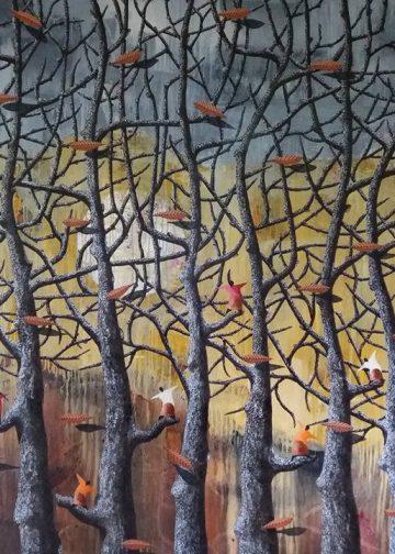 Lukisan karya Nyoman Sujana Kenyem/ Foto-foto Gde Hariwangsa