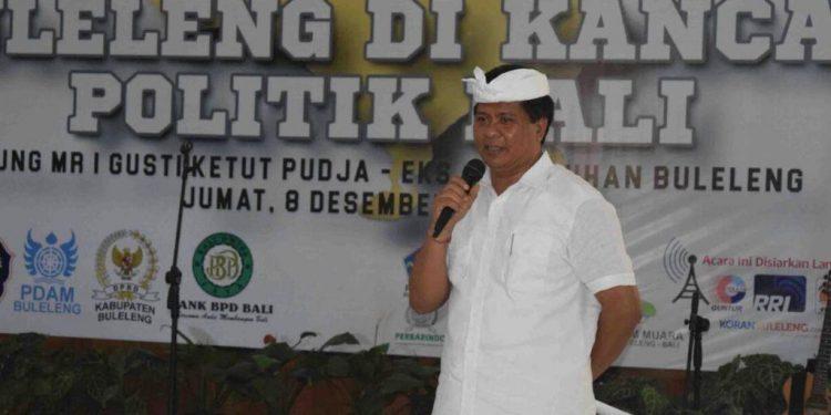 Ketut Sudikerta dalam acara Diskusi Akhir Tahun, Komunitas Jurnalis Buleleng, Jumat 8 Desember 2017