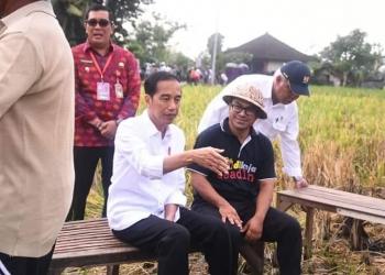 Perbekel Desa Kukuh Made Sugianto (Penulis) duduk bersama Presiden Jokowi di tengah sawah (Foto: Ist)