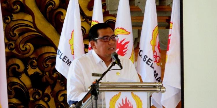 Wakil Bupati Tabanan DR. I Komang Gede Sanjaya saat Pelantikan Panitia Induk Porprov Bali XIV 2019 di Gedung Kesenian Ketua Maria pada Jumat (23/11/2018)