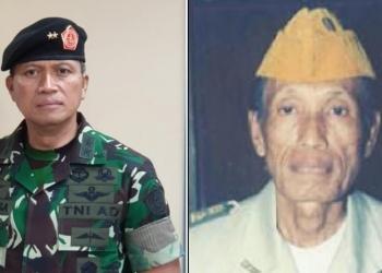 Danjen Kopassus Mayjen TNI Nyoman Cantiasa dan bapaknya Sastrawan Nengah Tinggen (Foto:Ist)