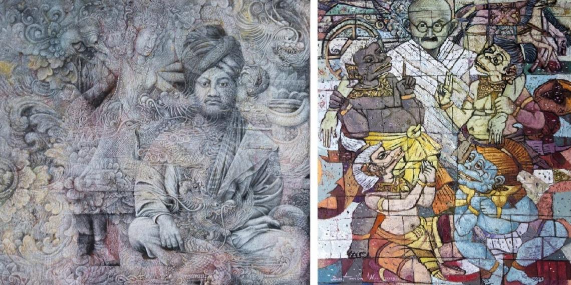 Karya Wayan Redika dan Made Duatmika yang akan dipamerkan di Indira Gandhi National Centre for the Arts, New Delhi, India, pada 13-20 Maret 2019.