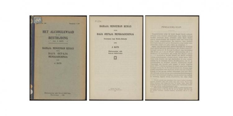 Buku BAHAJA MINOEMAN KERAS serta DAJA OEPAJA MENDJAOEHINJA oleh J. KATS. Dikeloewarkan oléh BALAI POESTAKA Weltevreden - 1920.