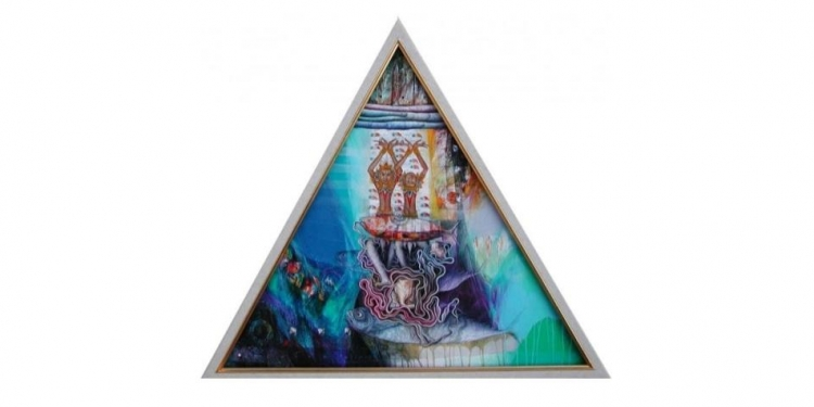 """Wayan Redika, """"Reflection of Rajah"""", 2006, Mixed Media on Canvas, Triangle 60x60x60 cm,  Collected by Mr. Hans Verleur, Holland"""