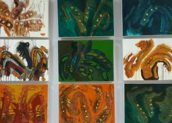 Lukisan karya Hardiman dalam pameran seni rupa di Undiksha Singaraja, 27 Novemver hingga 11 Desember 2019