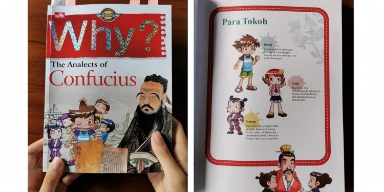 Cover buku WHY?: THE ANALECTS OF CONFUCIUS dan para tokoh-tokoh di dalamnya